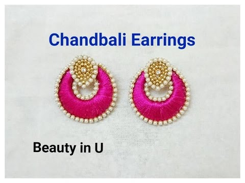 How to make Chandbali Silk Thread Earrings | Tutorial| Model for sale at www.beautyinustores.com |