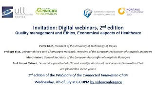 Digital webinars, 2nd edition Quality management and Ethics, Economical aspects of Healthcare