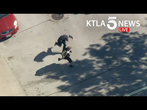 Driver who led authorities on pursuit from Joshua Tree to L.A. County tackled by officer