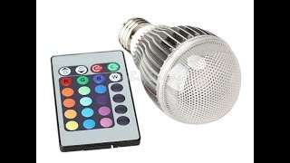 Обзор RGB LED лампы 5W E27 (16 цветов + пульт) / RGB LED Light Bulb Lamp(Покупал тут (AliExpress): https://goo.gl/Ai13iH (Ссылка не всегда открывается в браузерах смартфонов, в таком случае открой..., 2014-01-13T08:04:51.000Z)