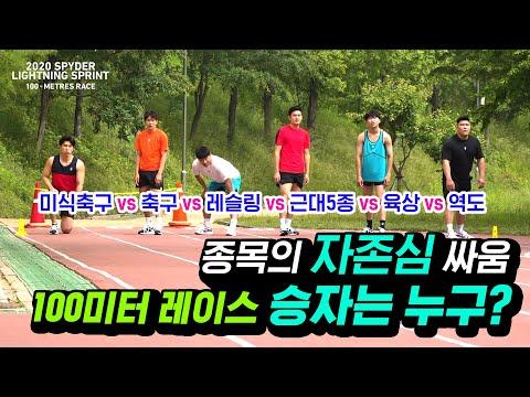 종목의 자존심을 건 100미터 레이스 대결! 6개 종목 선수들의 100미터 대결의 결과는!? (2020 SPYDER LIGHTNING SPRINT - 100 METRES RACE)