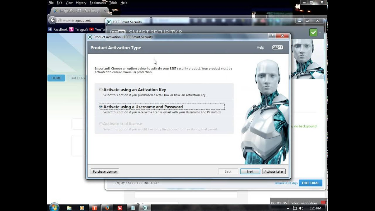 eset smart security username and password trial