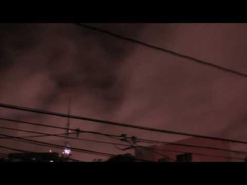 Typhoon Santi clouds Color Night shot video
