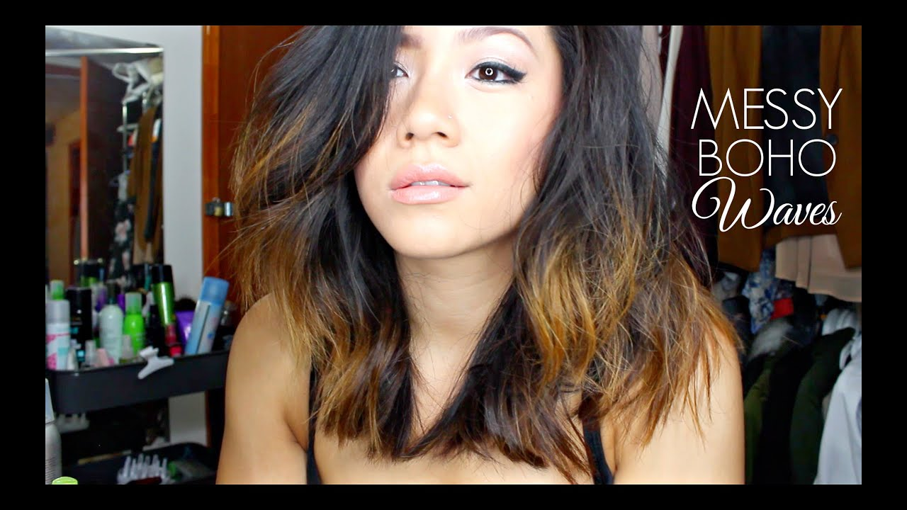 Messy Boho Waves For Short Hair Tutorial Missyanyi Youtube