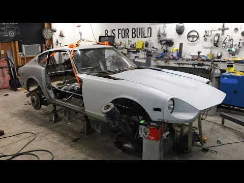 Getting the 240z Body Over the BMW V10 Engine!
