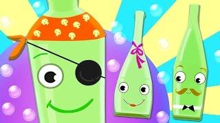 TEN GREEN BOTTLES Kids' Song with Lyrics - 100% FUN Nursery Rhyme!