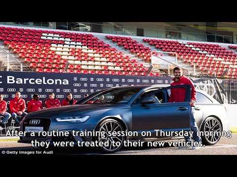 Barcelona stars including messi and suarez receive brand new audi cars