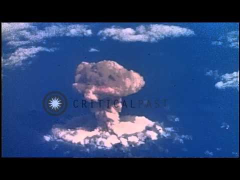 "Operations Crossroads plutonium bomb nuclear test ""ABLE"" in Marshall Islands...HD Stock Footage"