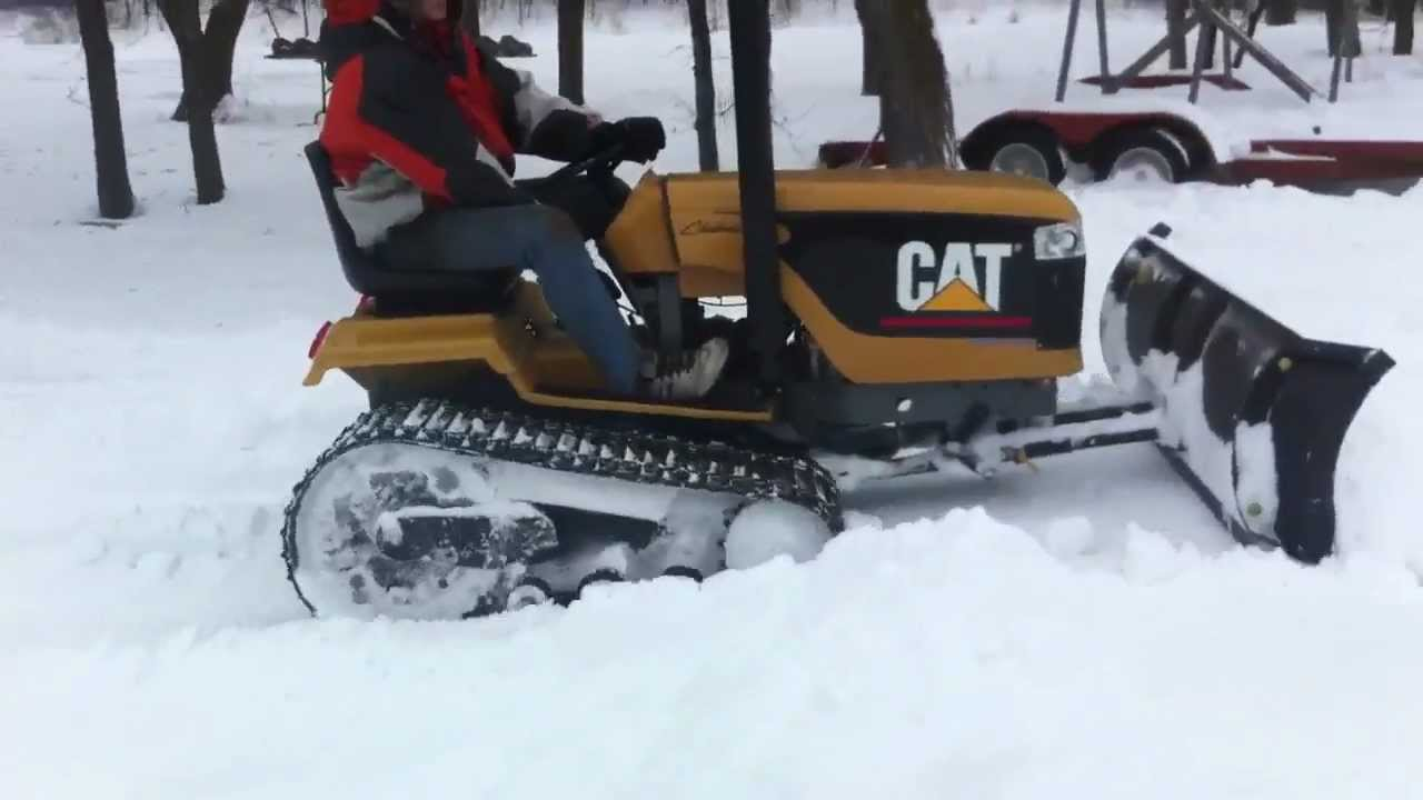 Mini Cat Challenger Tractor Snow Plowing Youtube