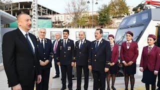 İlham Əliyev Pirşağı dəmir yolu stansiyasının açılışında iştirak edib