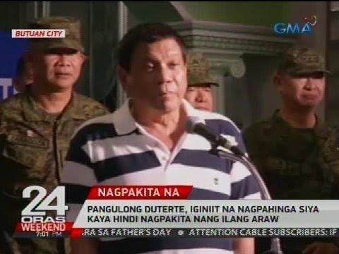 Pangulong Duterte, iginiit na nagpahinga siya kaya hindi nagpakita nang ilang araw