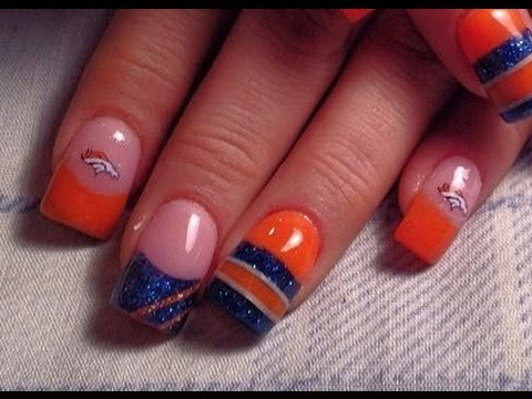 Denver Bronco Nails - YouTube