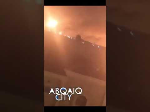 بالفيديو: طائرات الحوثيين المسيرة تحرق النفط السعودي،  والرياض تعلن رسميآ إشتعال منشآت بقبق وخريص النفطية