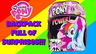 Rainbow Dash MLP Bach to School Backpack Full of Surprise Blind Bags!