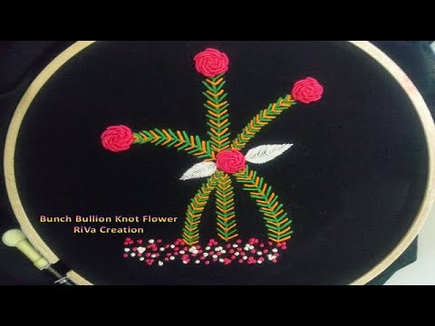 Flowers with Bullion Knot stitch,Hand  Embroidery(Hindi)