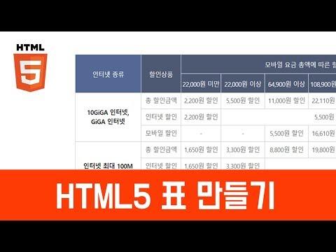 [HTML 기초이론] - 표만들기(table)