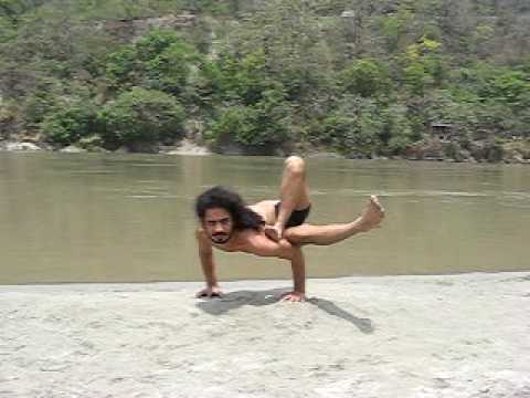 YOGI Soomit Saadhak performing amazing yoga skill. In Himalayas