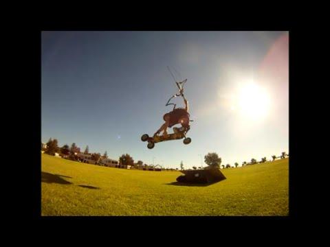 wake style landboarding with flysurfer kites