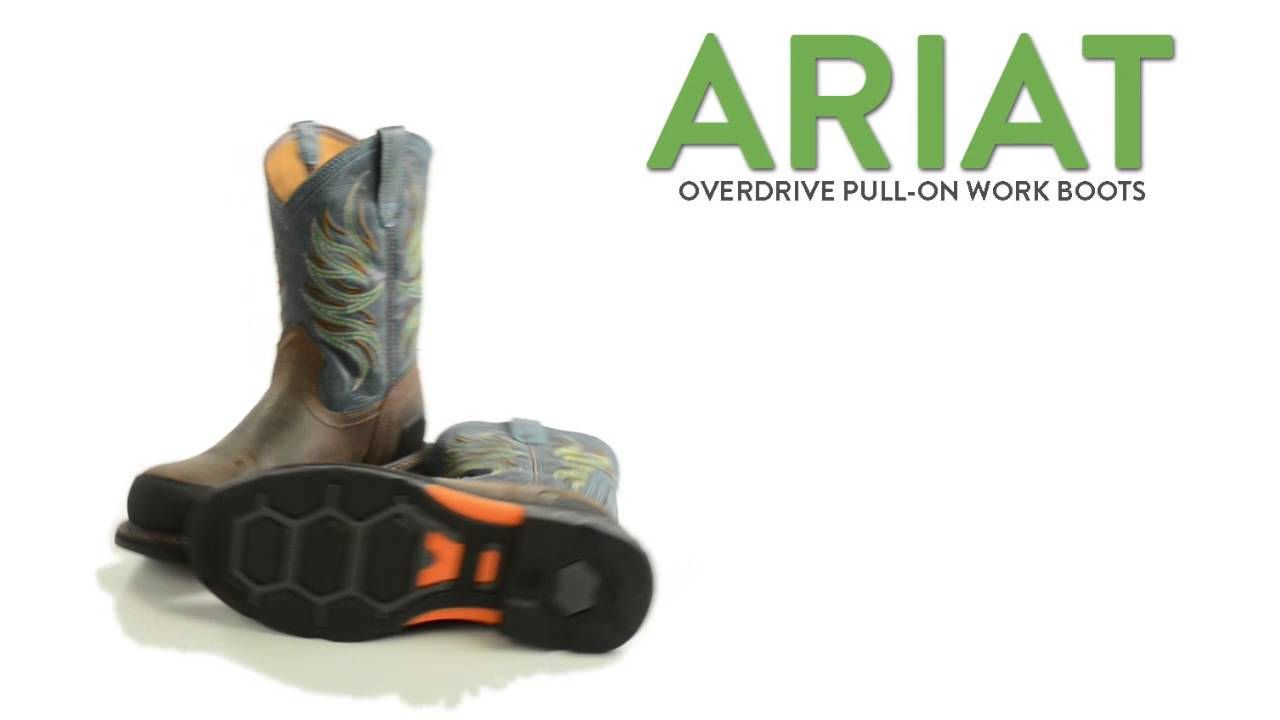 "Ariat Overdrive Pull-On Work Boots - Composite Round Toe, 10"" (For ..."