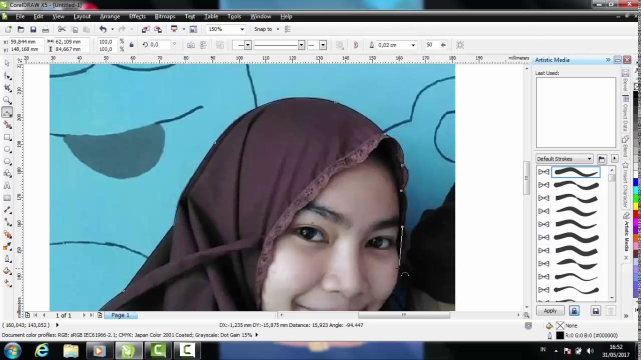 Tutorial Coreldraw Cara Memotong Gambar Mengganti Background Youtube