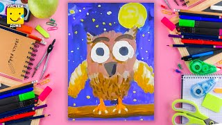 Как нарисовать сову - урок рисования для детей 4-6 лет. Дети рисуют совушку поэтапно