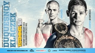 BAMMA 18: (Main Event) Tom Duquesnoy vs Kryzstof Klaczek