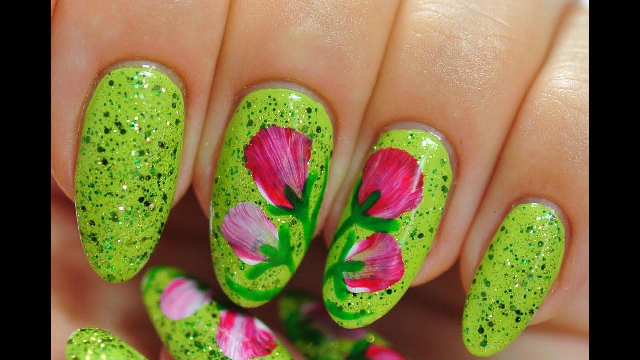 Nail Art Red Flowers Shiny Green Nails Youtube