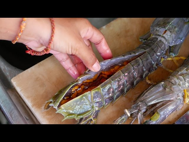 GRAPHIC - LIVE GIANT ALIEN SHRIMP Thailand Street Food