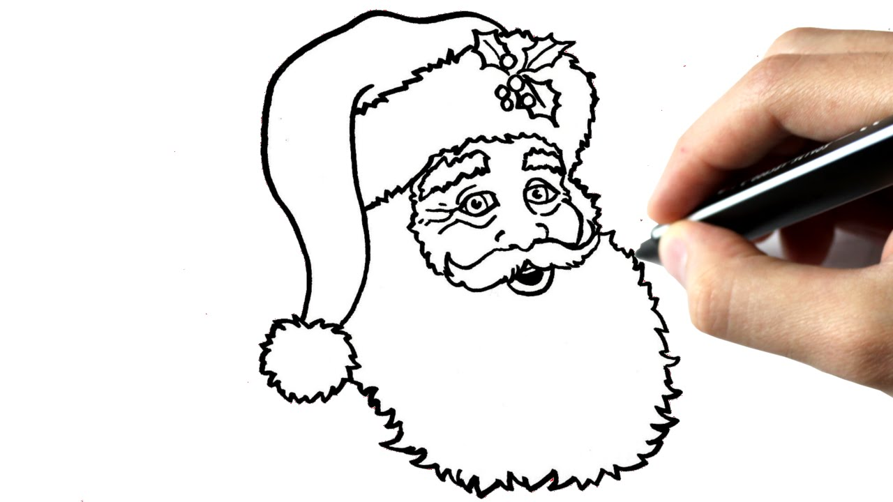 Comment dessiner le p re no l youtube - Dessin de noel a dessiner ...