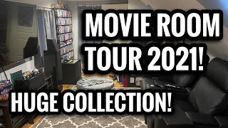 MOVIE ROOM/MAN CAVE TOUR 2021 | HUGE MOVIE COLLECTION!