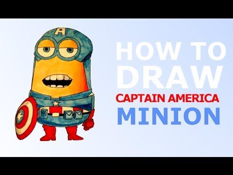 how to draw captain america minion youtube