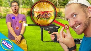 Guess the Food In the Paintball Challenge! *Getting Hit With Food Paintballs*