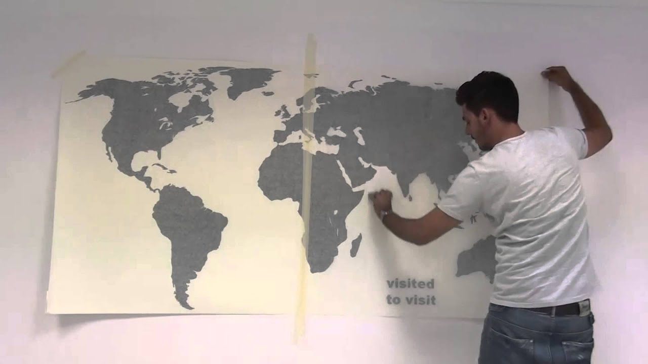 Bild Auf Wand Malen World Map With Pins Sticker - How To Apply - Youtube