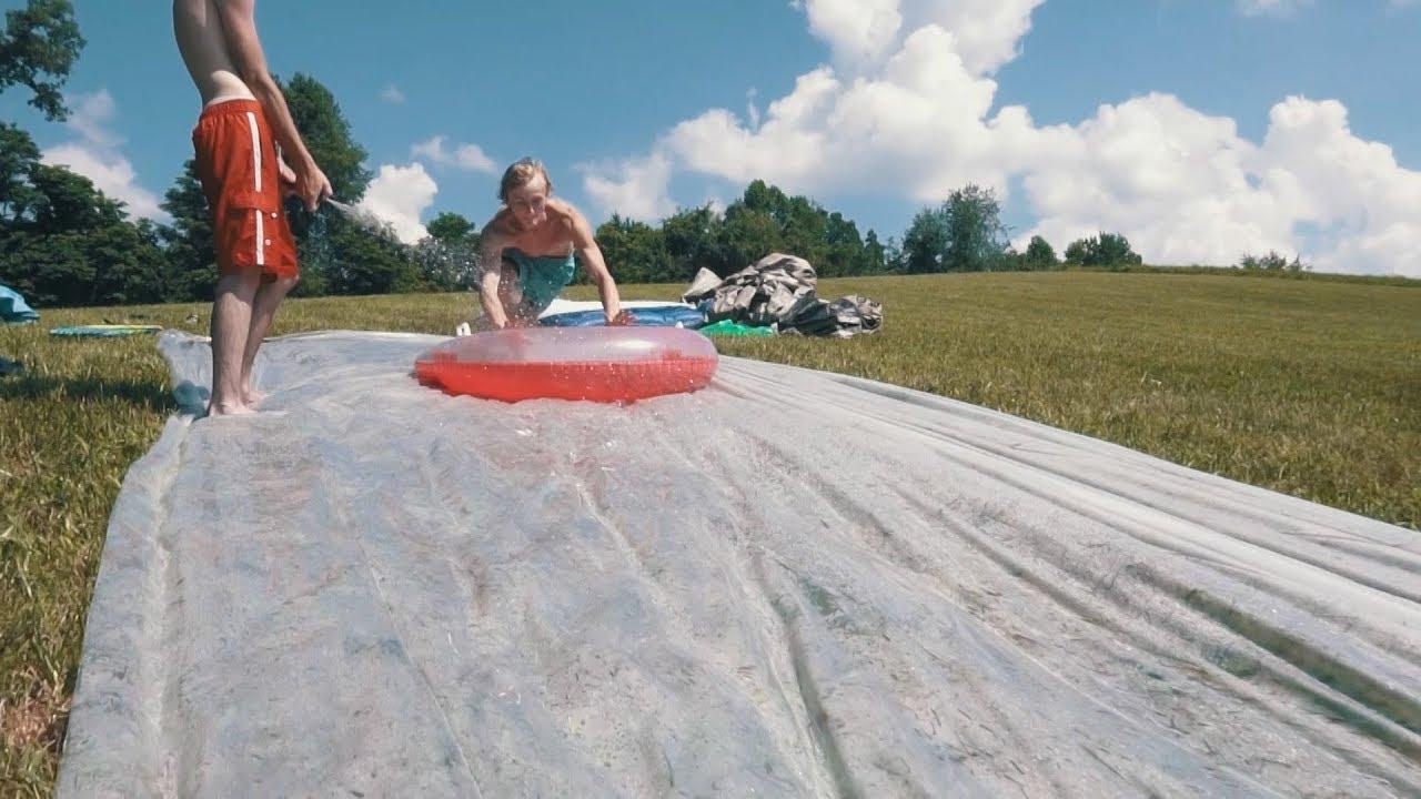 Backyard slip and slide!! - YouTube