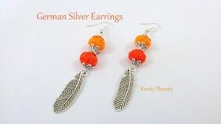 German Silver Designer Earrings | Silver Feather Hangings in 2 Mins | www.knottythreadz.com