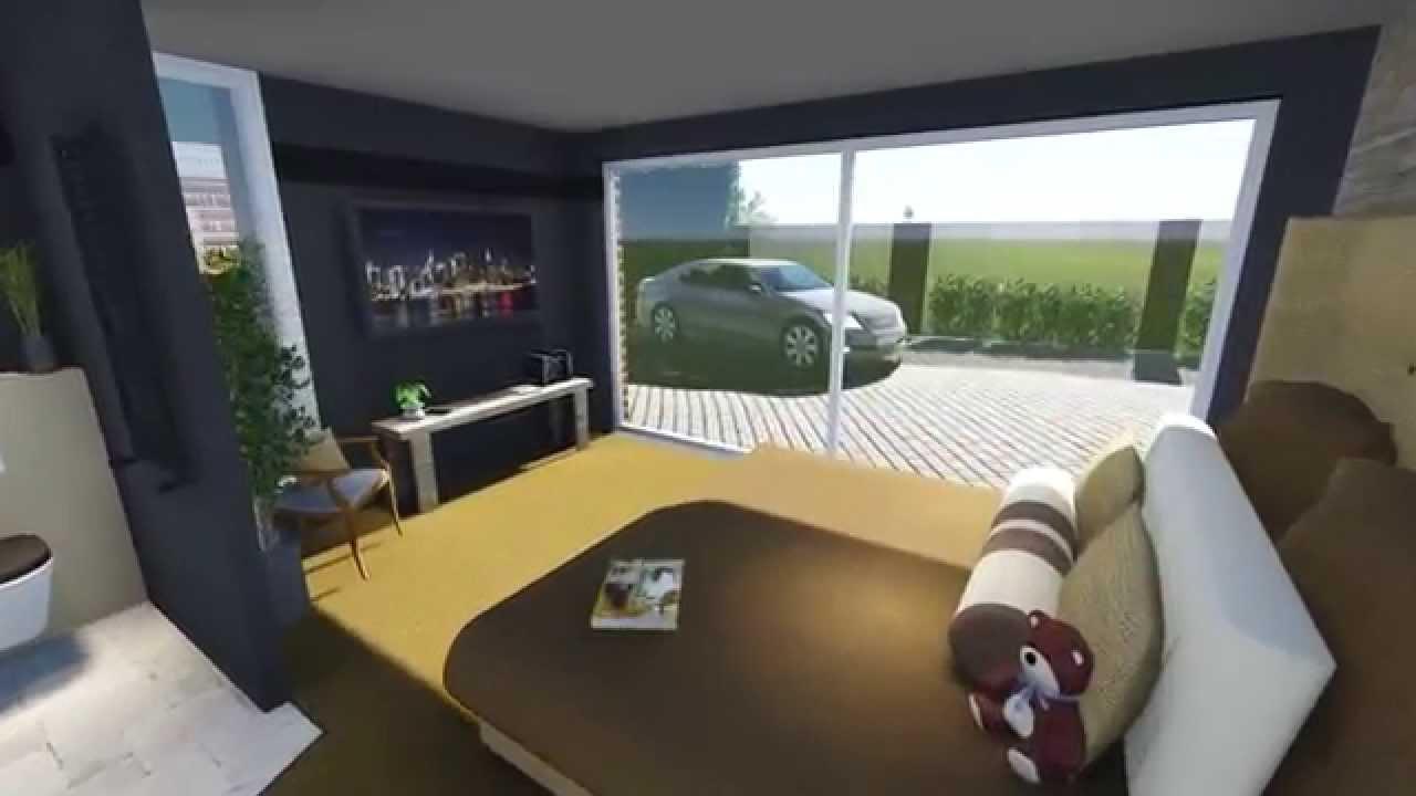 3d animatie uitbouw met bad en slaapkamer