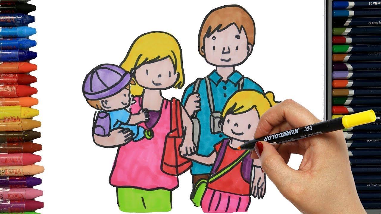 Anne Baba Ve Cocuklari Cizelim Boyayalim Cocuklar Icin Egitim