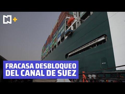 Fracasa intento de reflotar buque encallado en el Canal de Suez.