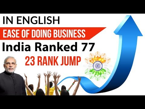 Ease of Doing Business Index by World Bank, India jumps 23 spots to 77th rank, Current Affairs 2108