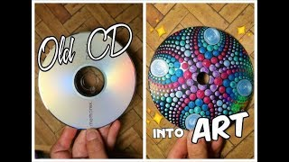 Recycling CD into ART Dot Mandala Painting Suncatcher | How To Paint Dot Mandalas Lydia May