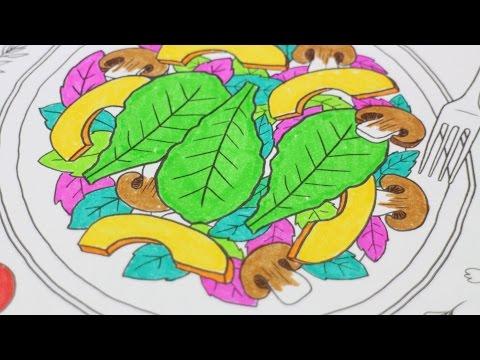 [ASMR] 푸드 컬러링북 | 싸인펜소리 | Food Coloring Book | Marker Sound | Anti Stress