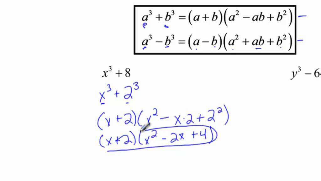 algebra 2 - factoring sum  u0026 difference of cubes