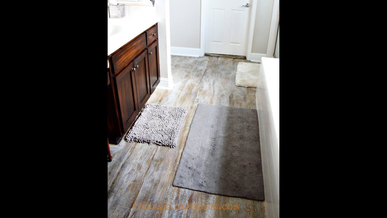 How To Pull Up Carpet And Paint A Subfloor To Look Like Aged Wood - Paint vinyl floor look like stone