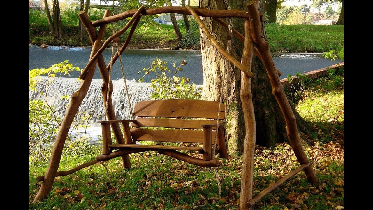 wooden garden swings - YouTube