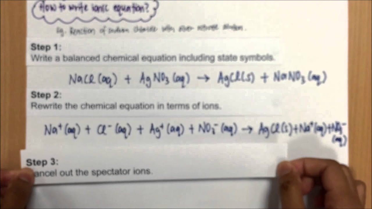 How To Write An Ionic Equation