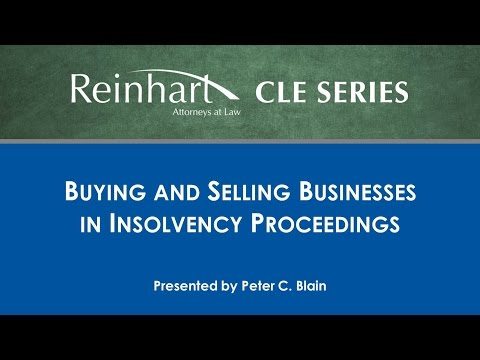 Reinhart Law CLE Series: Buying and Selling Businesses in Insolvency Proceedings