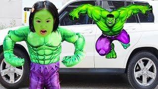 보람이와 별이의 슈퍼히어로 변신해서 할머니 도와드리기 Boram becomes a Superheroes in Kids car story
