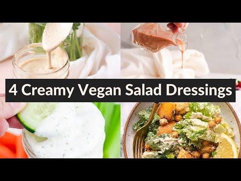 4 CREAMY VEGAN SALAD DRESSINGS   learn how to make homemade dressing!