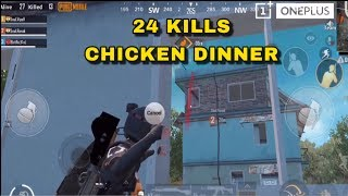 24 Kills Chicken Dinner | 3 Man Squad Domination Highlights | PUBG Mobile | Powered By OnePlus