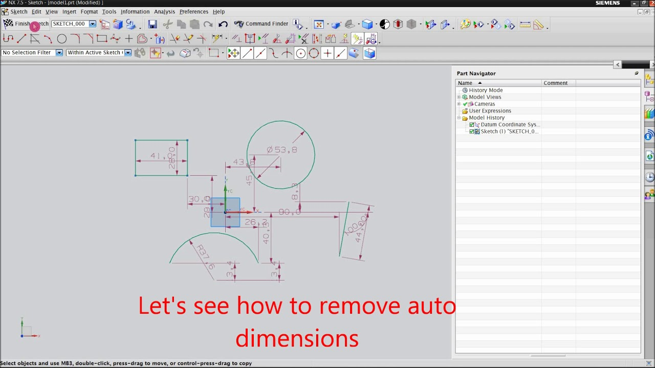 how to disable auto dimension in ug nx